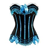 Kranchungel Damen Burlesque Vollbrust Satin Korsett Dessous Corsage Gothic Kostüme Medium Hellblau
