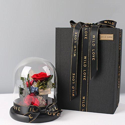 Premium éternelle fleur cadeau box,Spécial Le coffret rose Ornements de verre Surprise Décorations de réception Le jour de noël Année-rouge 14x16cm(6x6inch)