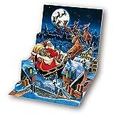 Christmas Greeting Card Santa's Sleigh Pop-Up