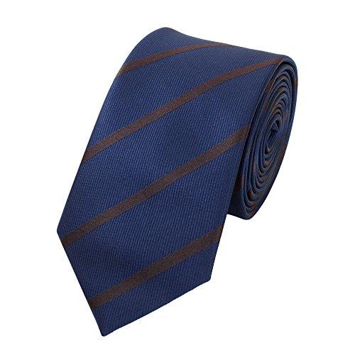 Fabio Farini Schmale 6-cm Slim Krawatte verschiedenen Farben, Dunkelblau mit braunen Streifen -