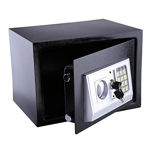 Cocoarm Elektronischer Safe Tresor Sicherheit Sicher Digital Sicherheit Box Stahl Digital Sicher für Büro oder Zuhause 16L (Schwarz)