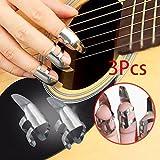 Auntwhale Punte per dita in acciaio inossidabile Per chitarra Plectrums Dobro Banjo Banjo Pick Set Fingerpicks (3 pezzi)