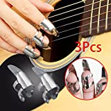 Forfar 3 Stück Edelstahl Finger Picks Für Gitarre Plektren Dobro Banjo Banjo Pick Set Fingerpicks