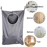 Bolsa de lavandería colgante Organizador de almacenamiento de ropa sucia que ahorra espacio con 2 piezas Ganchos y ventosas de acero inoxidable