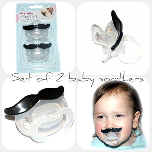 hnuller, 2Stück, schwarzer Schnurrbart (Lustige Baby-schnuller)