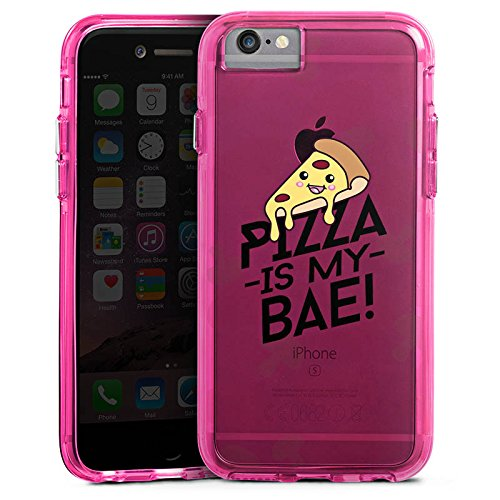 Apple iPhone X Bumper Hülle Bumper Case Glitzer Hülle Transparent mit Motiv Pizza Is My Bae Food Bumper Case transparent pink