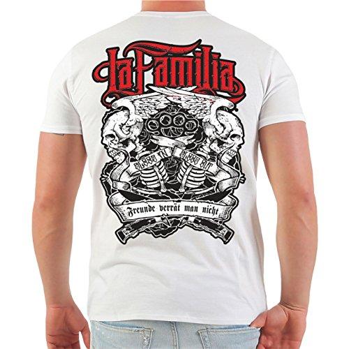 Männer und Herren T-Shirt Viva La Familia (mit Rückendruck) Größe S - 8XL V-Neck weiß