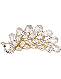 Sanjog Enchanted Peacock Crown Golden Hair Comb Tiara Bridal Wedding Hair Accessories Women