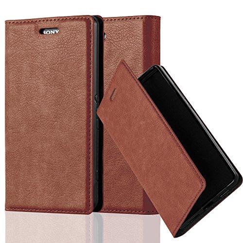 Cadorabo Hülle für Sony Xperia Z3 COMPACT - Hülle in Cappuccino BRAUN - Handyhülle mit Magnetverschluss, Standfunktion und Kartenfach - Case Cover Schutzhülle Etui Tasche Book Klapp Style