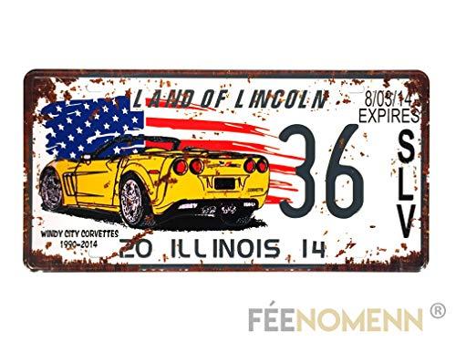 d Vintage - Auto Corvette Sport Staat Illinois (15 x 30 cm) ()