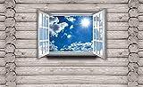 Tapeto Fototapete - Ausblick Hütte Himmel Wolken Sonne Natur - Vlies 254 x 184 cm (Breite x Höhe) - Wandbild Holzbalken