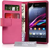 Yousave Accessories se-ha01-z930Leather Case for Sony Xperia Z1Compact Pink
