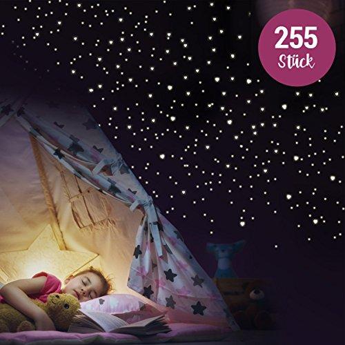 """Wandkings Wandsticker, """"255 Leuchtherzen für Sternenhimmel"""", im Dunkeln leuchtend"""