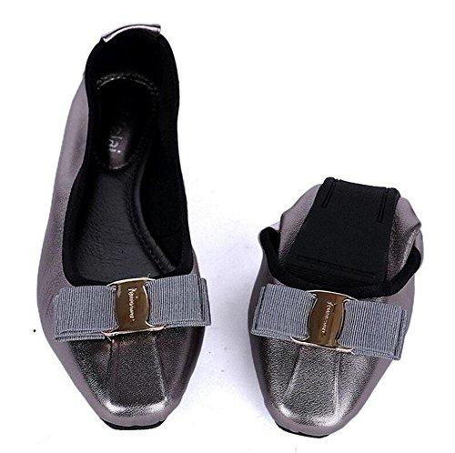 SHINIK Frauen 's Fold Up Ballett Pumps Leder Ei Rolls Frauen' s Shallow Side Square Schuhe Korean Version der Bow Dance Dancing Schuhe gun color