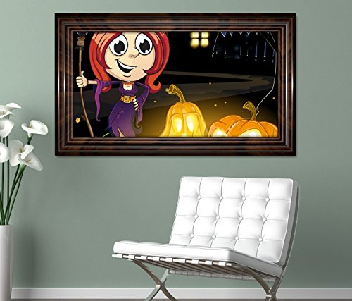 ustig Kinderzimmer Kürbis Halloween selbstklebend Wandbild Tattoo Wohnzimmer Wand Aufkleber 11L519, Wandbild Größe F:ca. 140cmx82cm ()