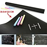 Imaging Solutions Paper Black Board, Black Waterproof Chalkboard Removable Vinyl Wall Sticker For Home School Office College Room Kitchen