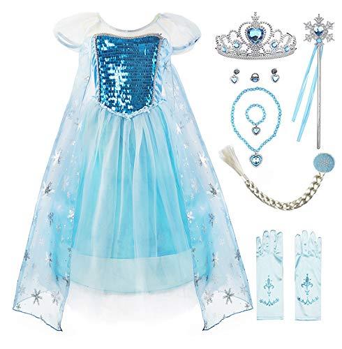 zessin Anna Kleid Schnee königin ELSA Kostüm Party Kleid,4 Jahre (Hersteller Größe:110) ,Blau Paillette mit Zubehör ()