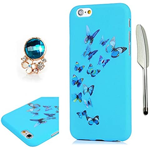 iPhone 6S Custodia Morbido (4.7 inch) ,iPhone 6 Case Cover Gel,YOKIRIN TPU Protettivo Ultra Sottile Shell Bumper Per iPhone 6 6S e Penna capacitiva e Spina della polvere - Disegno Farfalla (Blu)