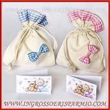 12 pezzi di sacchetto in juta per confetti con fascia alta e fiocchetto ,fantasia a quadri rosa da femminuccia - Bomboniere nascita,battesimo,comunione,compleanno