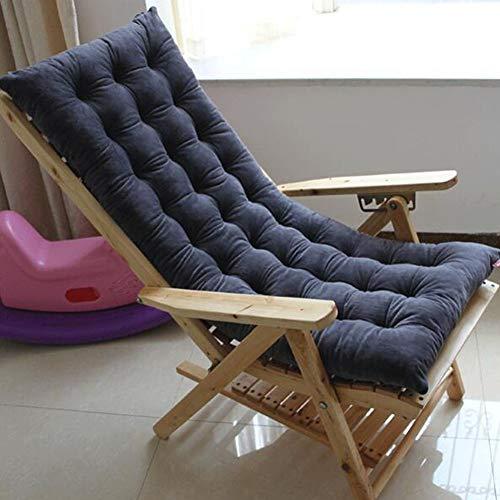 Liegestuhl-Kissen, Ersatz Garten Terrasse Gepolsterte Rocking Stuhl Sitzkissen Liegestuhl Liege Relaxer Stuhl-Pads Hoch zurück Plüsch Seat dämpfung-grau 120x48cm(47x19in)