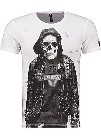 BlackRock Herren T-Shirt Slim Fit Totenkopf Skull Bones Adler - 71303 - WHITE XL