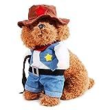 Ueetek pour animal domestique Vêtements Cowboy Cosplay Costume Chat Chien Blue Jeans Chapeau Tenue Funny fête Apparel–Taille S