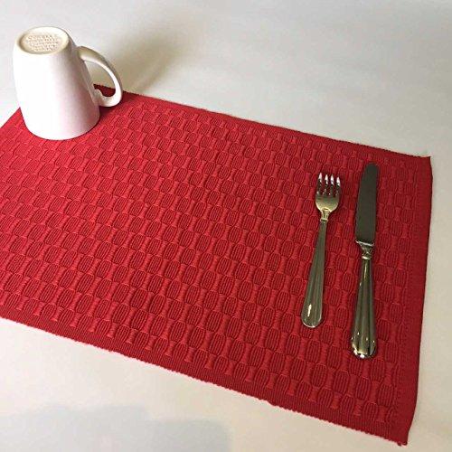 Tischsets Polyester Baumwolle rot Bubble Gewebe Set von 4