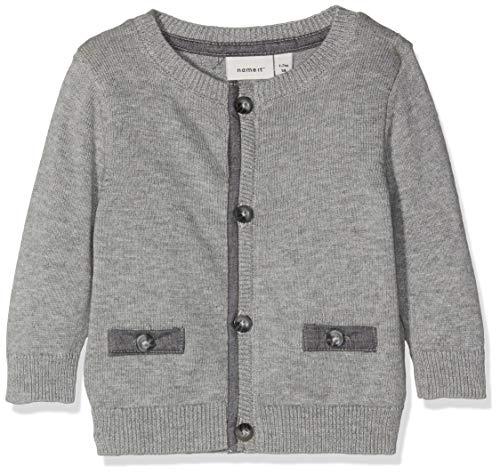 NAME IT Baby-Jungen Strickjacke NBMRISTER LS Knit Card, Grau (Grey Melange), 74