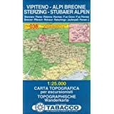 Sterzing, Stubaier Alpen: Wanderkarte Tabacco 038. 1:25000 (Cartes Topograh)