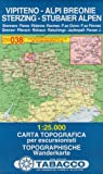 Sterzing, Stubaier Alpen: Wanderkarte Tabacco 038. 1:25000 (Cartes Topograh, Band 38)