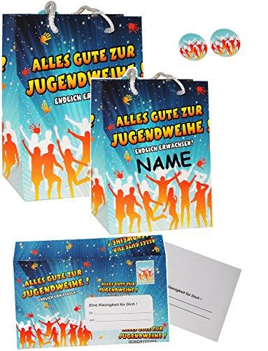 Set _ XL Umschlag & Karte & 2 Geschenkbeutel -  Alles Gute zur Jugendweihe !  - incl. Name - für Glückwünsche, Gutschein / Geldgeschenk - Jugend Fest & Feie..