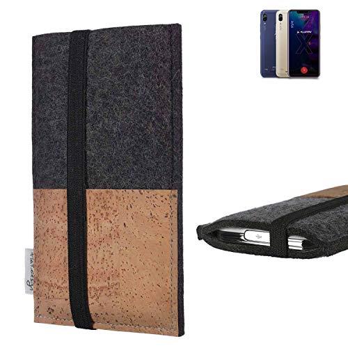 flat.design Handy Hülle Sintra für Allview Soul X5 Style Handytasche Filz Tasche Schutz Kartenfach Case Natur Kork