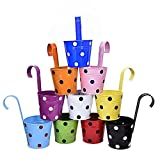 #9: CINAGRO - Polka Dotted Galvanized Metal Hanging Round Railing Planter Set Of 10Pcs (Multi Colour)