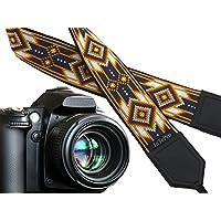 Inspiriert von Native American Kameragurt. Southwestern Kameragurt. Schwarz, weiß, hellbraun Kameragurt. Kamera Zubehör von intepro. Code 00342