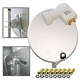 PremiumX Digitale Sat Anlage 100cm Spiegel Schüssel Antenne aus Stahl Hellgrau + LNB Quad 0,1dB PXQS-SE Weiß Zum Direktanschluss von 4 Teilnehmern Digital HDTV Full HD 3D