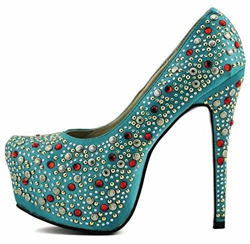 Sapatos Comprar Mais Barato Online Senhoras De Plataforma De Calcanhar-party-casamento Brilho Stiletto Apontou Sapatos Tamanho 3-8 Estilo 2 - Esmeralda