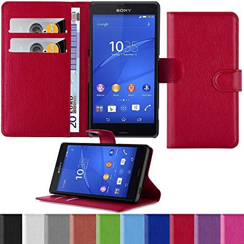 HANDYPELLE Premium Tasche für Sony Xperia Z3 Compact im Bookstyle in Rot