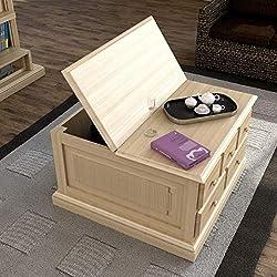 Mesa de Centro Rústica Baúl de madera clara con cajones