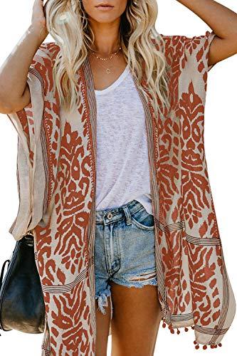 FIYOTE Fiyte Kimono Damen Badeanzug, lang, Bohème Stil, Mantel aus Chiffon, Bedruckt, Cover Up, Sarong Eichel, Einheitsgröße Gr. OneSize, Orange