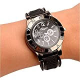 New Military USB Lighter Watch Men's Casual Wristwatches with Windproof Flameless Cigarette Cigar Lighter (Gun Color)