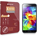 SAMAR® - Premium Quality Tempered-Glass Screen Protector for New Samsung Galaxy S5 Mini [GLASS.X Series SLIM] (0.23mm) Ultra Thin Lightweight Rounded Edge Hardness up to 9H (harder than a knife) - Includes Microfiber Cleaning Cloth