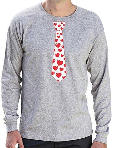 Rote Herzen Krawatte Liebe Geschenk Langarm T-Shirt Grau