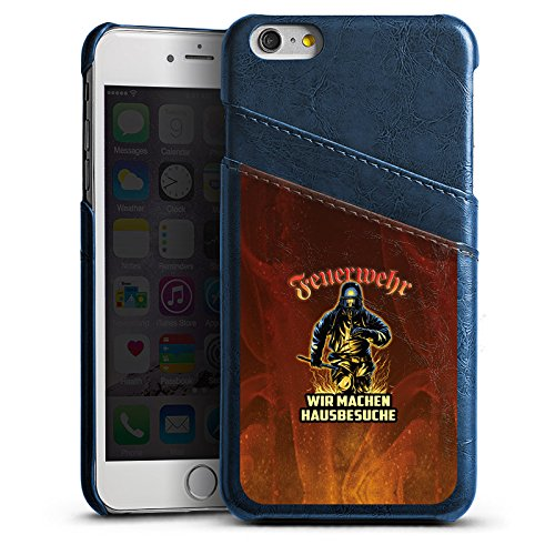 Apple iPhone 5s Lederhülle Leder Case Leder Handyhülle Feuerwehrmann Spruch Feuerwehr Leder Case Navyblau