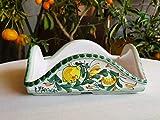 Portatovaglioli in Ceramica Siciliana. Porta tovaglioli decorato a mano con limoni. Accessori da tavola. Le ceramiche di Ketty Messina.