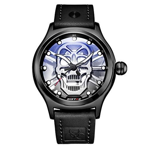 Huacat Herrenuhr StahlgüRtel Uhr Gentleman Edelstahl Instrumententafel DREI Augen Sechs Nadel MäNner Automatische Mechanische Armbanduhr Braunem Armband Herrenuhren