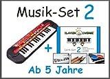 Musik-Set 2: Kinder-Keyboard von SimbaⒸ + Klavierzwerge-Lern-Set 2 (Buntstifte, 2x Zahlensticker, 2-Silikon-Armbänder) für Kinder ab 5 Jahren, Anfänger Vorschulkinder