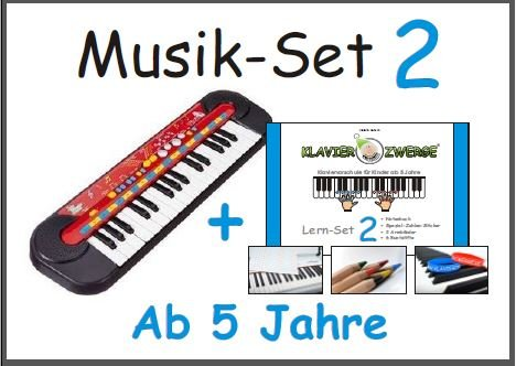 Music Set 2: Bambini tastiera da Simba � + Piano nani Learning Set 2 (pastelli, 2x adesivi numero, 2