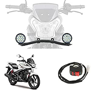 Vheelocityin Complete Lighting System - 2 X 42 Watt 14 LED Square Fog Lamp Motorycyle Light with Rod and Switch for Hero Motocorp Ignitor