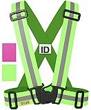 Tuvizo - Warnweste / Reflektorweste / Sicherheitsweste einstellbar leicht und elastisch mit Identifizierungslabel für Notfälle - Sicherheits zubehör für Erwachsene und Kinder - Gelb / Rosa. Zum Laufen Motorrad Fahrrad