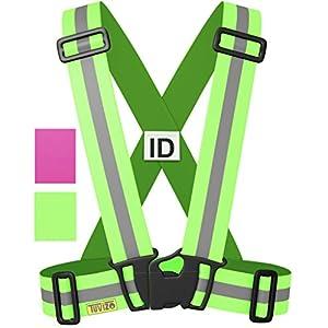 Tuvizo – Warnweste / Reflektorweste / Sicherheitsweste einstellbar leicht und elastisch mit Identifizierungslabel für Notfälle – Sicherheits zubehör für Erwachsene und Kinder – Gelb / Rosa. Zum Laufen Motorrad
